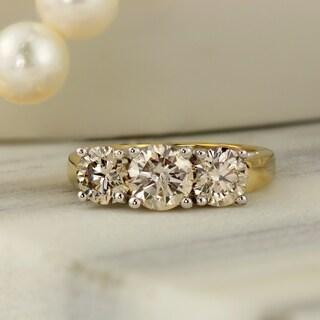 Auriya 14k Gold 2ctw 3-Stone Diamond Engagement Ring