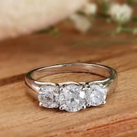 Auriya 1 carat TDW Round 3-Stone Diamond Engagement Ring 14K Gold