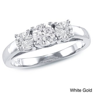 Auriya 14k Gold 1ct TDW Round 3-stone Round Diamond Engagement Ring