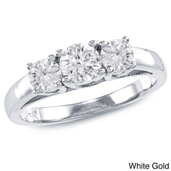 Auriya 14k Gold 1ct TDW Diamond 3-stone Engagement Ring (J-K, I2-I3)