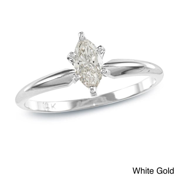 Auriya 14k Gold 2/5ct TDW Marquise Diamond Solitaire Ring