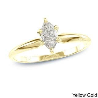 Auriya 14k Gold 2/5ct TDW Marquise Diamond Solitaire Ring (I-J, I1)