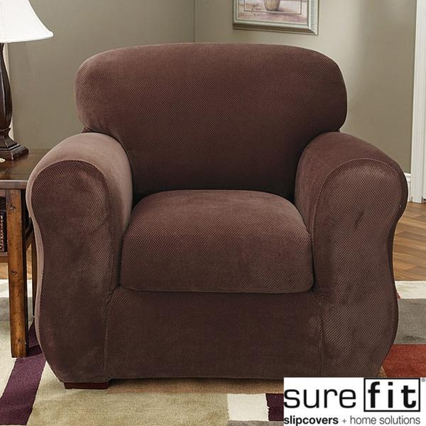 Stretch Pique 3-piece Chair Slipcover