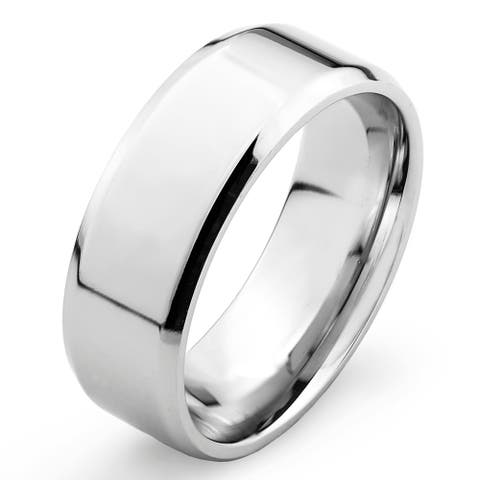 West Coast Jewelry Stainless Steel Men's Flat Band Ring - White