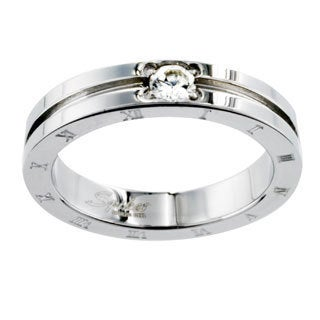 Stainless Steel CZ Etched Roman Numeral Design Ring