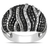"""Miadora Black and White Sterling Silver Diamond Accent """"Zebra"""" Stripe Ring"""