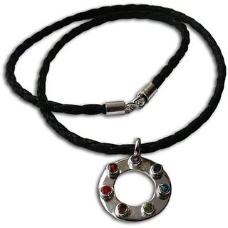 Handmade Sterling Silver 7-Chakra Happiness Leather Necklace (India)