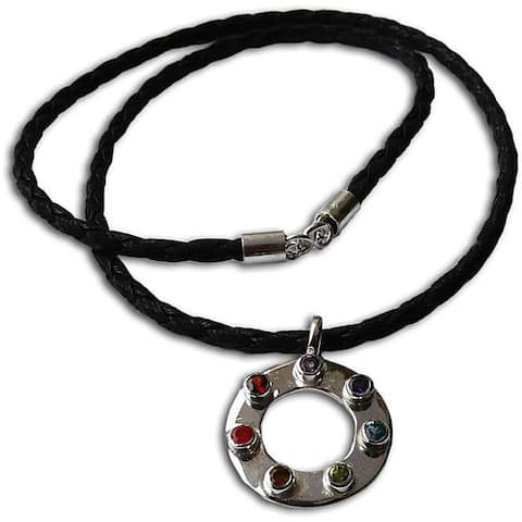 Handmade 7-Chakra Sterling Silver Leather Necklace (India)