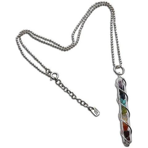 Handmade Sterling Silver Multi Gemstone Chakra Glass Tube Necklace (India)