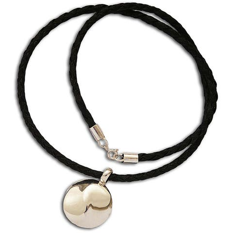Handmade Yin-Yang Sterling Silver Leather Necklace (India)