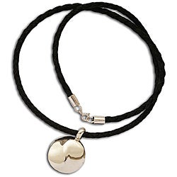 Sterling Silver Flowing Yin-Yang Leather Necklace (India)