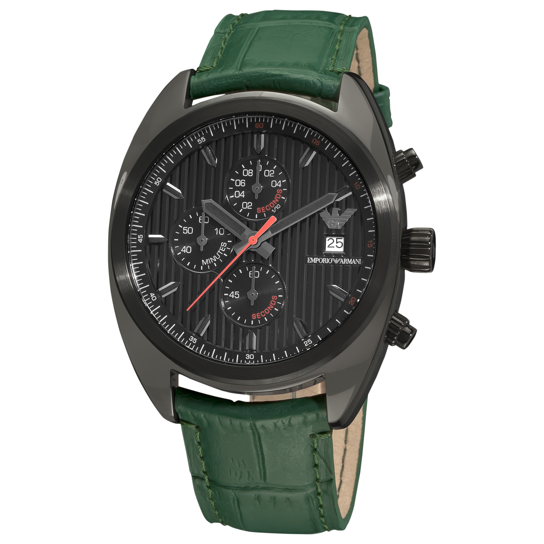 Emporio Armani Men's AR5936 'Sport' Green Leather Strap Watch