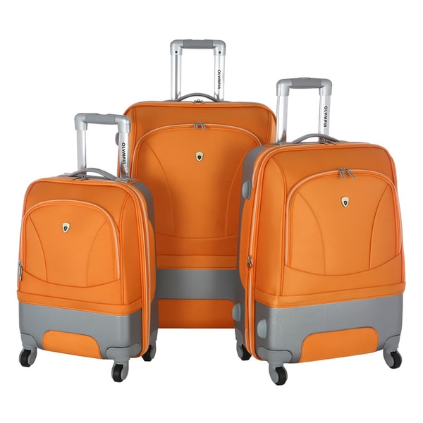 Olympia Majestic Hybrid Orange 3-piece Spinner Luggage Set