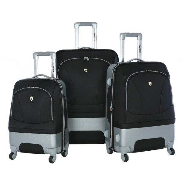 Olympia Majestic Hybrid Black 3-piece Spinner Luggage Set