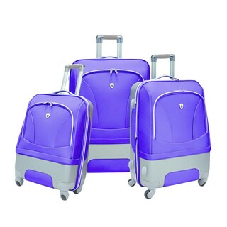 Olympia Majestic Hybrid Plum 3-piece Spinner Luggage Set