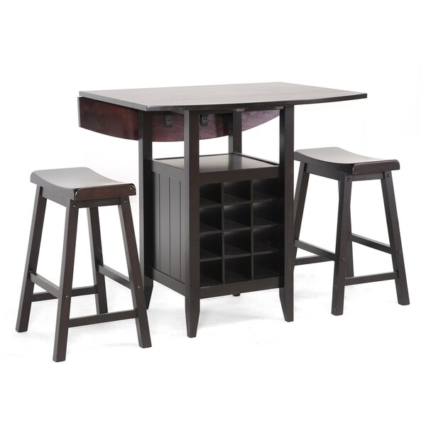 Dark Brown Wood Drop Leaf Pub Set By Baxton Studio   Free Shipping Today    Overstock.com   14115761