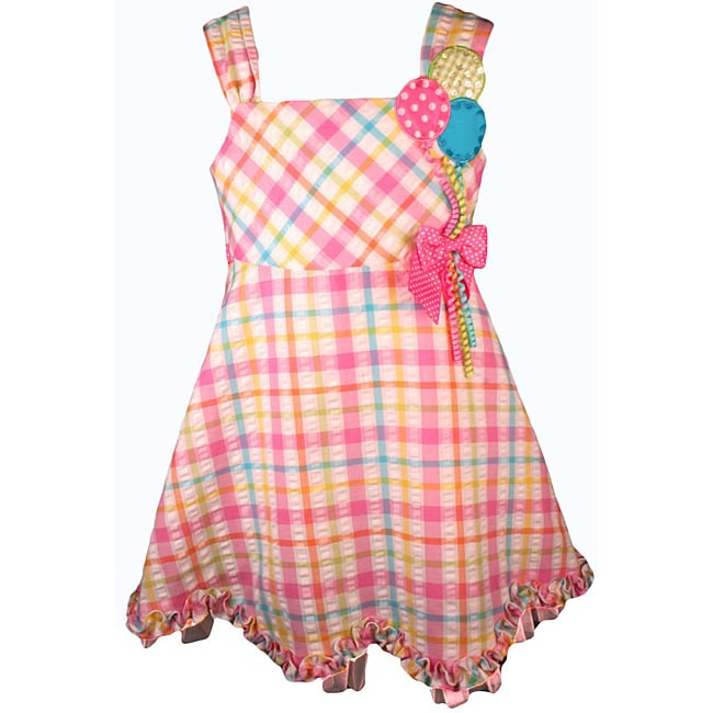 Bonnie Jean Girl's Pink Gingham Balloon Birthday Dress - Thumbnail 0