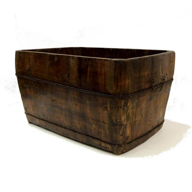 Large Vintage Wooden Square Sink in Natural