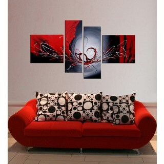 Hand-painted 'Red Wing' 4-piece Gallery-wrapped Canvas Art Set - multi