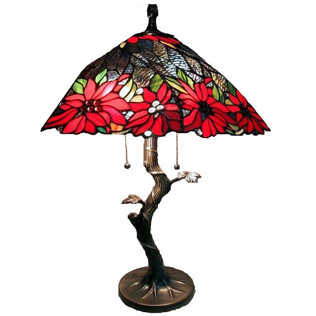 Tiffany Style Tree Base Lamp With Red Shade Free
