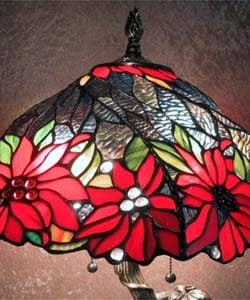 Tiffany-style Tree Base Lamp with Red Shade