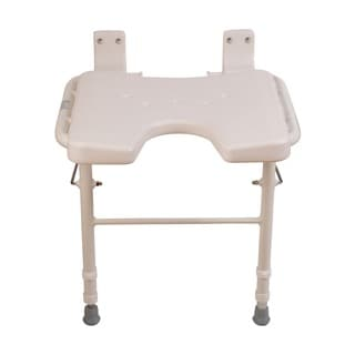 HealthSmart White Wall Mount Fold Away Bath Chair Shower Seat Bench with Adjustable Legs