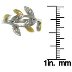 Carolina Glamour Collection Stainless Steel Two-tone Cubic Zirconia Spiral Leaf Vine Bypass Ring