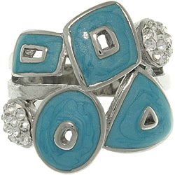 Carolina Glamour Collection Stainless Steel Enamel and Cubic Zirconia Geometric Ring