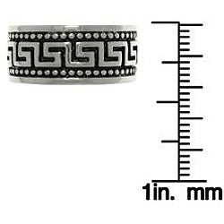 Carolina Glamour Collection Stainless STeel Two-tone Caviar Bead Greek Key Ring - Thumbnail 2