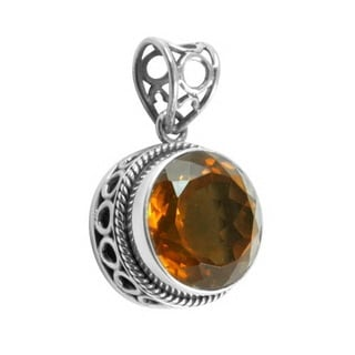 Handmade Sterling Silver Citrine Bali Pendant (Indonesia)