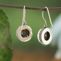 Sterling Silver Smoky Quartz Bali Dangle Earrings (Indonesia) - Thumbnail 1