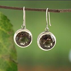 Sterling Silver Smoky Quartz Bali Dangle Earrings (Indonesia)
