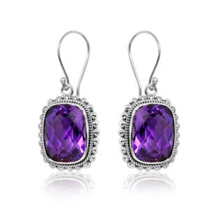 Handmade Sterling Silver Amethyst Bali Dangle Earrings (Indonesia)