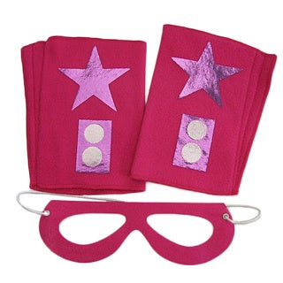 Power Capes Fuchsia with Purple Star Superhero Mask and Blaster Cuffs Set