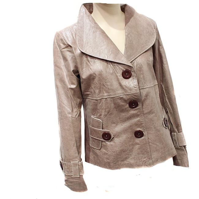 Handmade Women's Distressed Leather Designer Jacket (Ecuador)