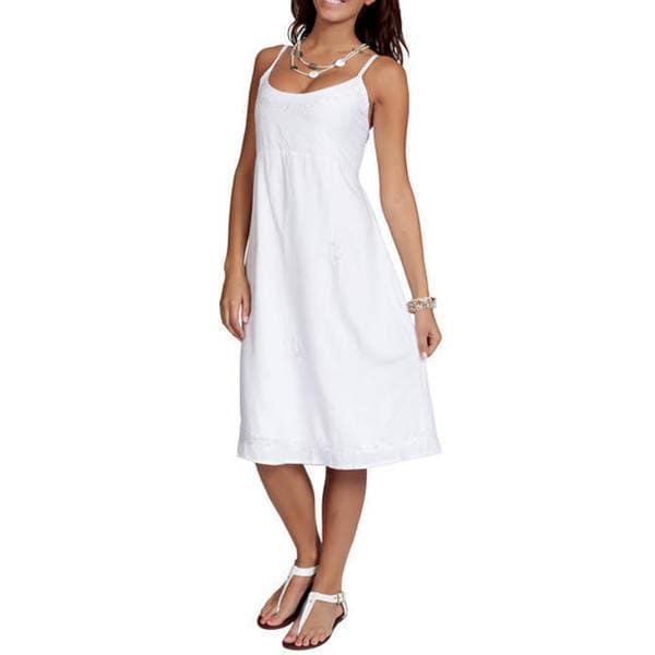 1 World Sarongs Women's White Summer Sun Dress (Indonesia)