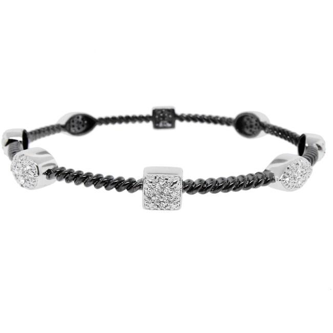 Sterling Silver Two-tone 1/3ct TDW Diamond Bangle Bracelet (H-I, I2-I3)