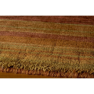 Loft Rust Gabbeh Border Hand-Loomed Wool Rug (5' x 8')