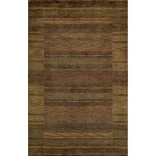 Loft Brown Gabbeh Border Hand-Loomed Wool Rug (5' x 8')