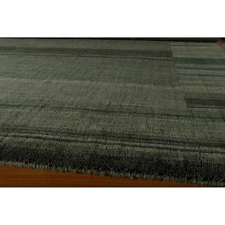 Loft Blue Gabbeh Border Hand-Loomed Wool Rug (5' x 8')
