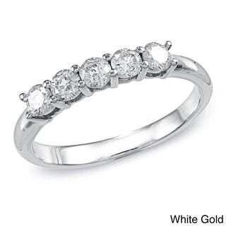 Auriya 10k Gold 1/2ct TDW 5 Stone Stackable Diamond Wedding or Anniversary Band