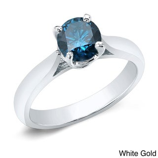 Auriya 14k Gold 3/4ct TDW Blue Diamond Solitaire Ring