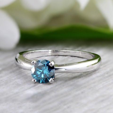 Auriya 14k Gold 3/4ct TDW Blue Diamond Solitaire Engagement Ring