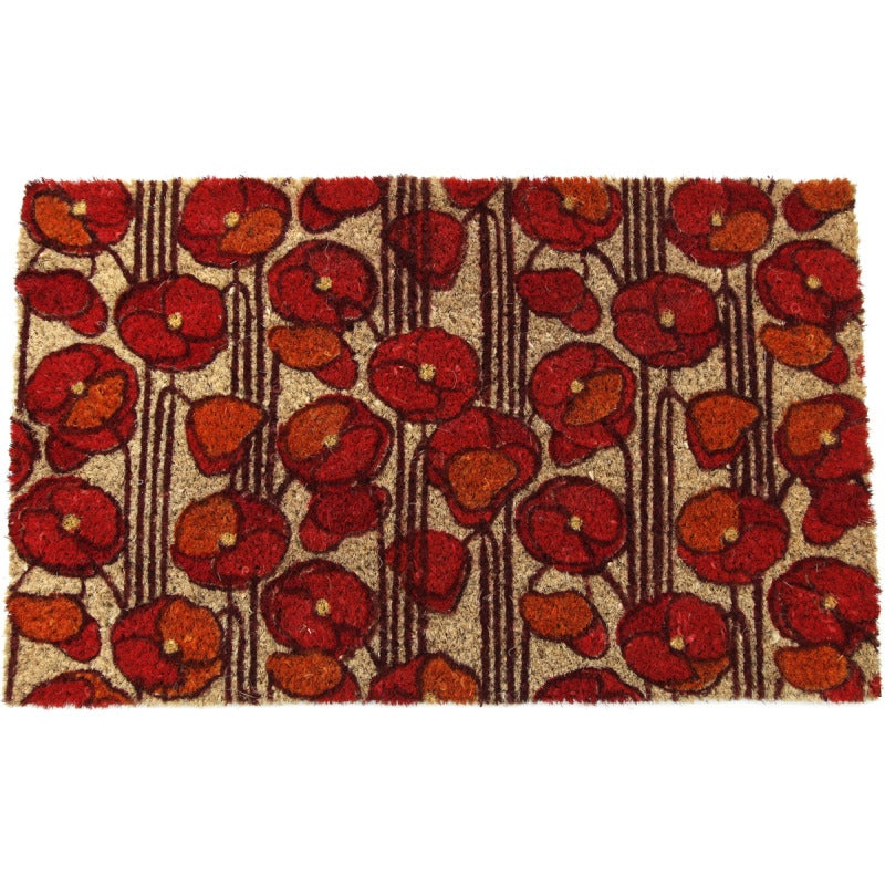 poppies non-slip coir doormat - free shipping on orders over $45