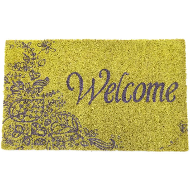 Purple Welcome Non-slip Coconut Fiber Doormat