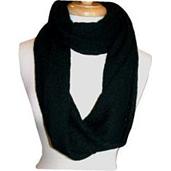 Sweater Knit Black Infinity Scarf - Thumbnail 1