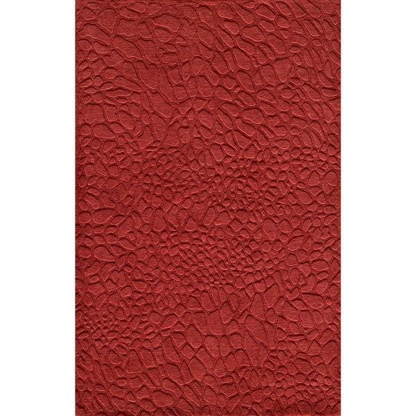 Loft Stones Red Hand-Loomed Wool Rug (5' x 8')