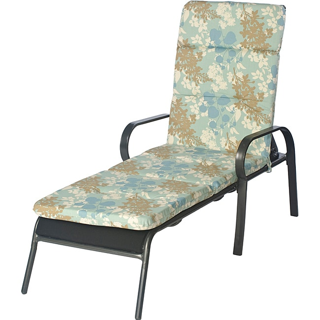 Ali patio outdoor tufted blue floral chaise lounge chair for Blue outdoor chaise lounge