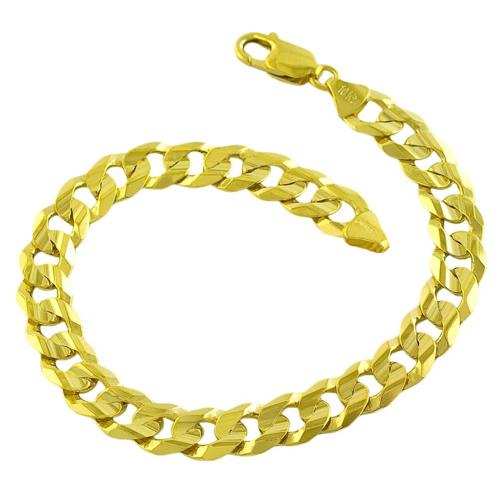 Fremada 10k Yellow Gold Men's 9-mm Flat Concave Curb Bracelet