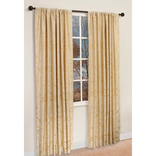 Ivory Polyester 84-inch Damask Napoli Curtain Panel Pair